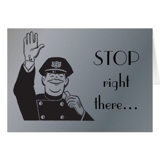 Stop Cop Police Happy Anniversary Retro Clipart Card
