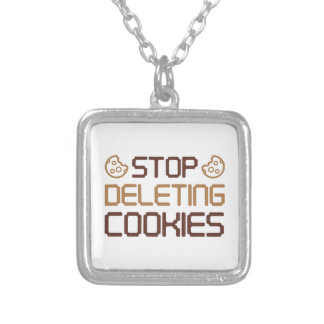 Stop Deleting Cookies Silver Plated Necklace