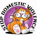 Stop Domestic Violence Cat Standing Photo Sculpture