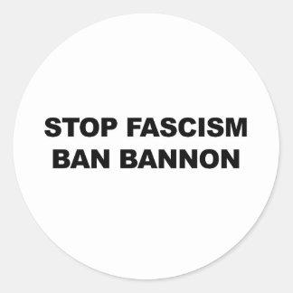 Stop Fascism, Ban Bannon Classic Round Sticker