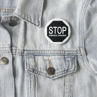Stop Finning Sharks Sign 2 Inch Round Button