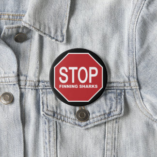 Stop Finning Sharks Sign 3 Inch Round Button