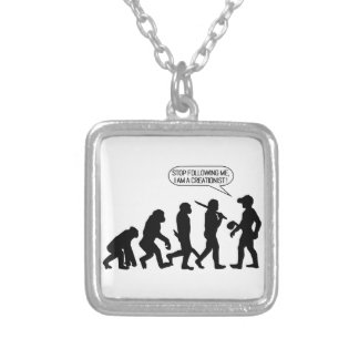 Stop following me, I'm a Creationist! Silver Plated Necklace