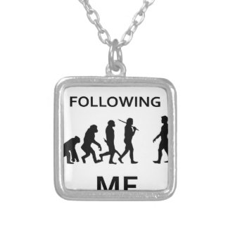 stop following me silver plated necklace