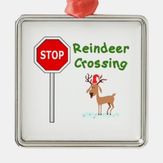 STOP for Santa's Reindeer! Metal Ornament
