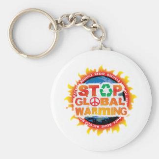 Stop Global Warming Basic Round Button Keychain