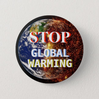Stop Global Warming Earth on Fire Button