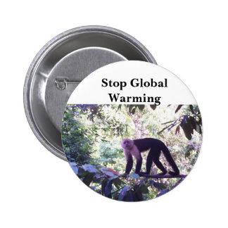 Stop Global Warming Monkey Button