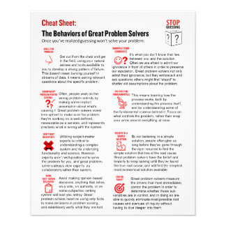 Stop Guessing Cheat Sheet - Half Size