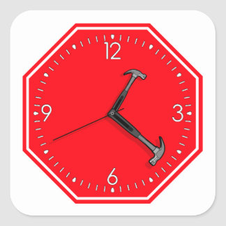 Stop Hammer Time Sign Clock Square Sticker