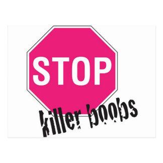 Stop killer boobs postcard