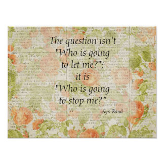 Stop Me Quote Floral Poster