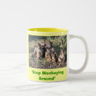"""Stop monkeying around"" Two-Tone Coffee Mug"