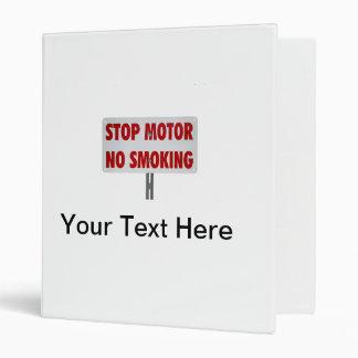 Stop Motor No Smoking Vinyl Binder
