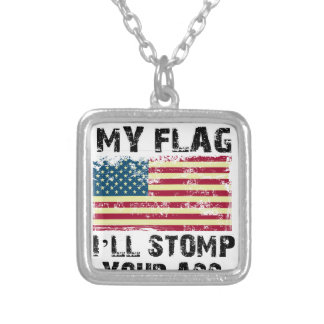 stop my flag i will stomp your silver plated necklace