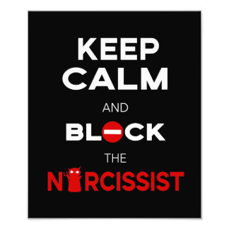Stop Narcissists, Narcissism. Keep Calm and Block Photo Print