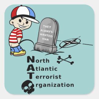 Stop NATO War Machine Funny Drawing Square Sticker