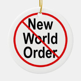 Stop NWO Round Ceramic Ornament