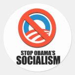 STOP OBAMA SOCIALISM CLASSIC ROUND STICKER