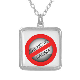 Stop racism silver plated necklace