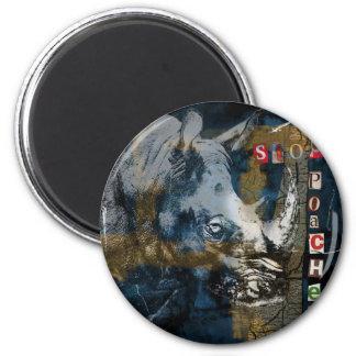Stop Rhino Poachers Wildlife Conservation Art 2 Inch Round Magnet