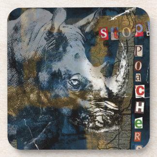 Stop Rhino Poachers Wildlife Conservation Art Beverage Coaster