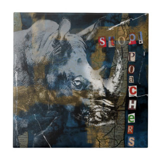 Stop Rhino Poachers Wildlife Conservation Art Ceramic Tile