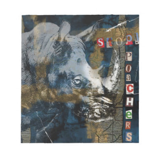 Stop Rhino Poachers Wildlife Conservation Art Notepads