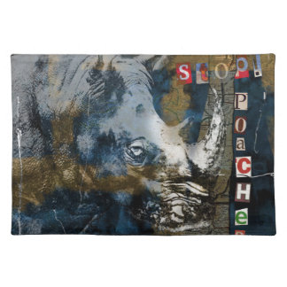 Stop Rhino Poachers Wildlife Conservation Art Place Mat