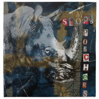 Stop Rhino Poachers Wildlife Conservation Art Printed Napkin