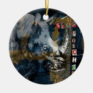 Stop Rhino Poachers Wildlife Conservation Art Round Ceramic Ornament