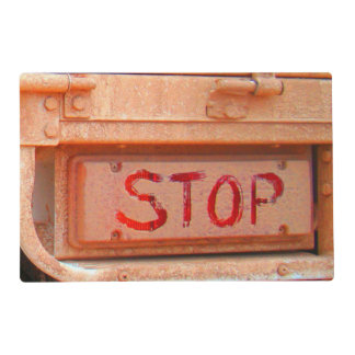 Stop rustic ute tailgate tail light laminated placemat