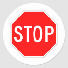 Stop Sign Customizable Classic Round Sticker