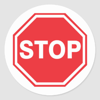 Stop Sign Decal Classic Round Sticker