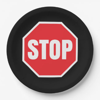 stop  sign paper plate