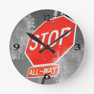 Stop Sign Round Clock