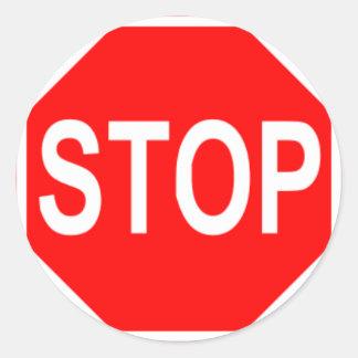 Stop Sign Round Sticker