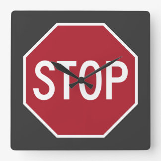 Stop Sign Square Wall Clock