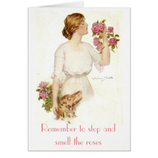 Stop Smell Roses Victorian Lady Dog Card