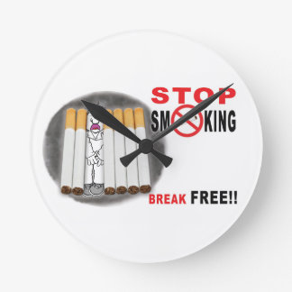 Stop Smoking Reminders - No More Butts Round Clock
