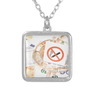 Stop smoking silver plated necklace
