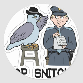 stop snitching pigeon classic round sticker