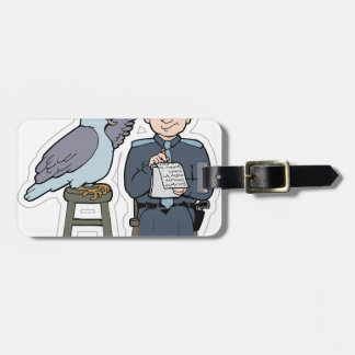 stop snitching pigeon luggage tag