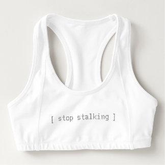 """stop stalking"" white sport bra"