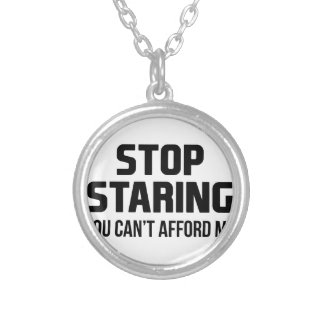 Stop Staring Silver Plated Necklace
