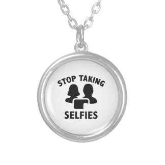 Stop Taking Selfies Silver Plated Necklace