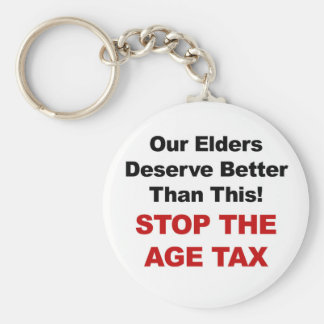 Stop the Age Tax Keychain