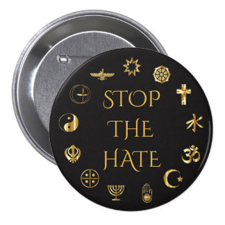 """""""Stop the Hate"""" with Symbols of World Religions 3 Inch Round Button"""