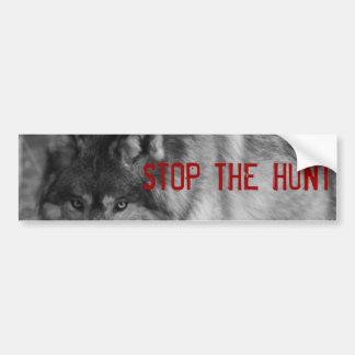 """""""StoP THE HUNT"""" Wild Wolf Bumper Sticker"""