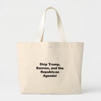 Stop Trump, Bannon and the Republican Agenda Large Tote Bag